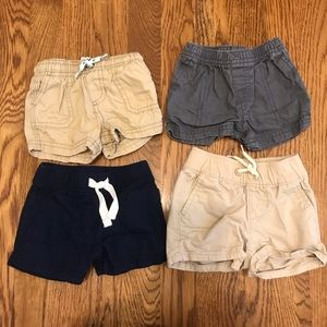 Bundle of 4 infant boys khaki gray and blue shorts
